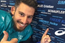 ASICS Wand auf der Messe vom Mainova Frankfurt Marathon 2016