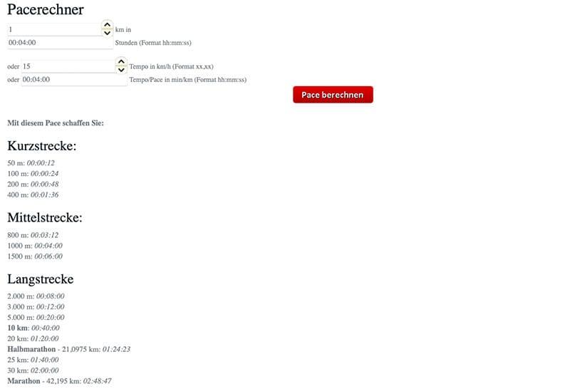Screenshot vom Pacerechner für das Intervalltraining