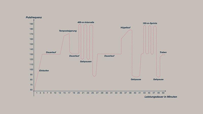 Intervalltraining Fahrtspiel Grafik Belastungszyklus